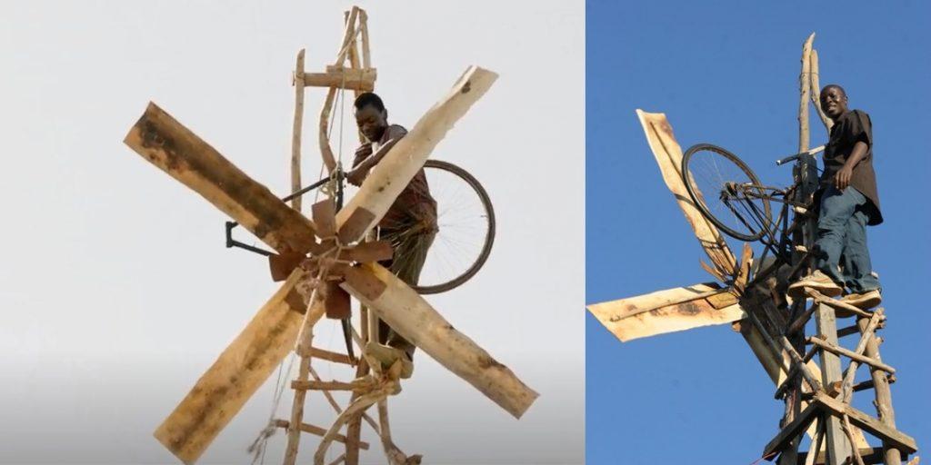 William Kamkwamba az első szélmalmával